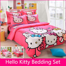 Brand Logo Hello Kitty Bedding Set Children Cotton Bed sheets Hello Kitty Duvet Cover Sheet Pillowcase King/Queen/Twin BS35(China (Mainland))