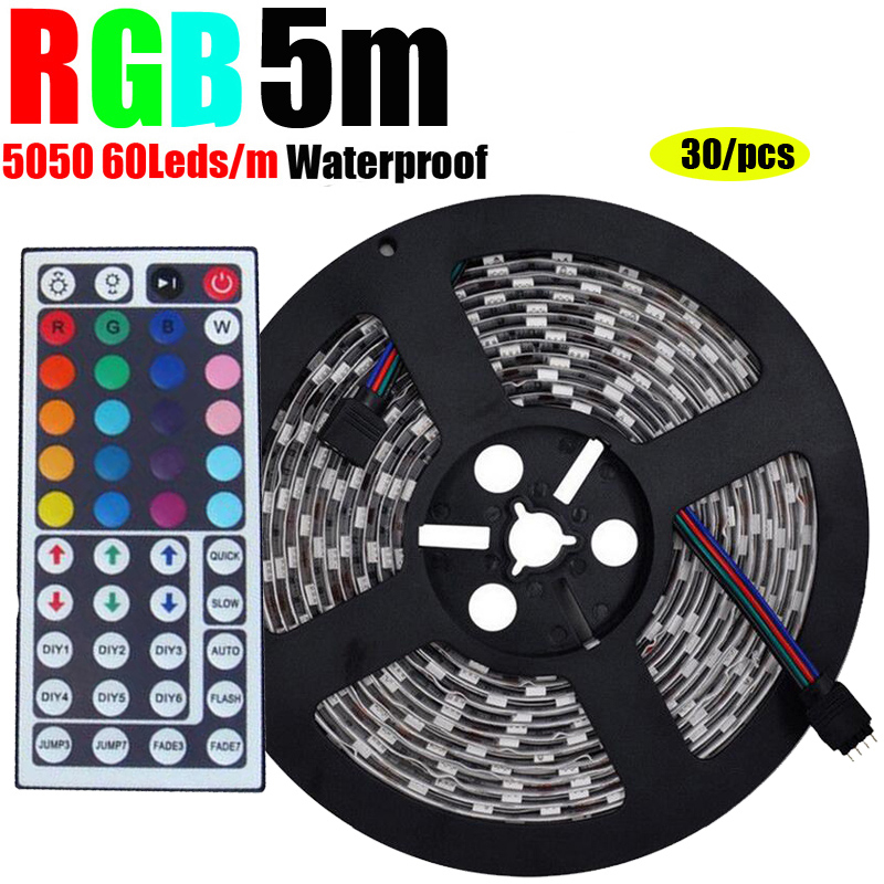 30/Pieces 5M RGB Waterproof SMD 5050 led strip 60 LEDs/m Strip Light + IR Remote controller free shipping(China (Mainland))