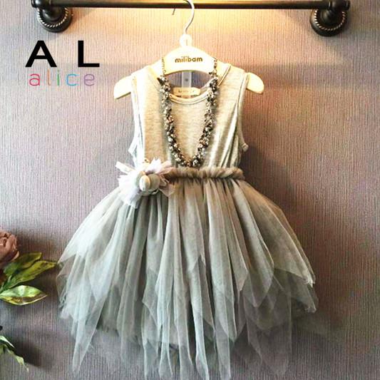 2015 Fashion Baby Girls designed gray tulle dress sleeveless party dress Princess lace dress 3-7 Ys Real photo kids clothes(China (Mainland))
