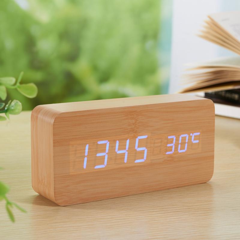 Bamboo Modern Sensor Wood Clock Dual LED Display Bamboo Desktop Clock Digital Alarm Clock LED Clock Show Temp Time Voice Control(China (Mainland))