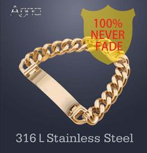 A&N AAA+Never Fade!!  Stainless Steel ID Bracelets Men Fashion Jewelry Gold Silver Mens Id Bracelet, Pulsera Hombre 2016(China (Mainland))