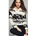 cheap clothes china women Polyester V Neck Chiffon Black Horse Animal Pattern Full Sleeve Fashion T
