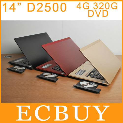 "100% Brand New 14.1"" Laptop Netbook Intel N2600 Dual Core 4GB 320GB DVD-ROM Laptop Notebooks HDMI KS-METAL(China (Mainland))"