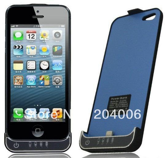 hot selling,black 2200mAh External Backup Battery Case Cover, Power Pack Charger Case for iphone 5 Free shipping