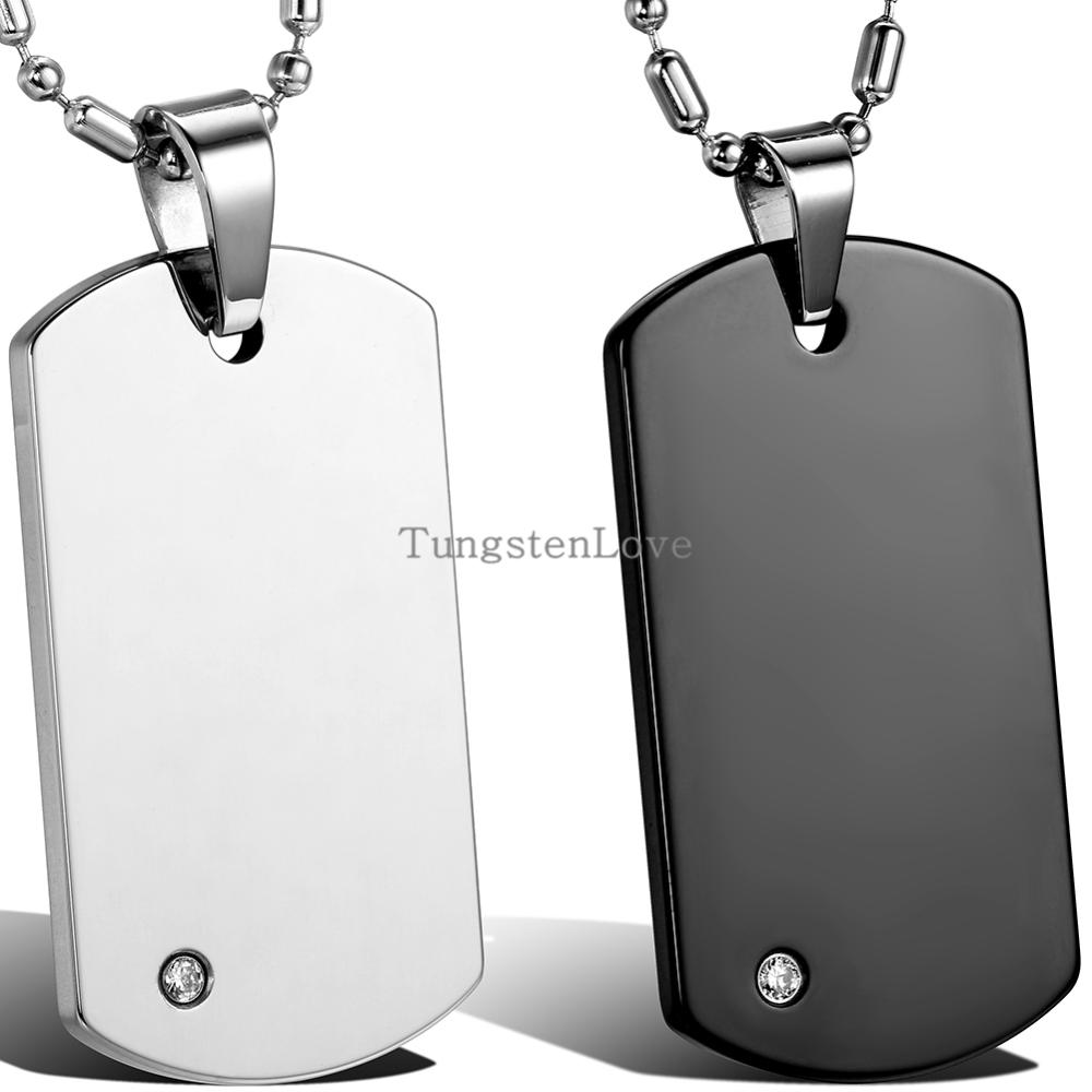 High Quality Free Chain Fashion Men's Tungsten Carbide Dog Tag Pendant Necklaces Punk Rock Style Jewelry Boys Men Gifts(China (Mainland))