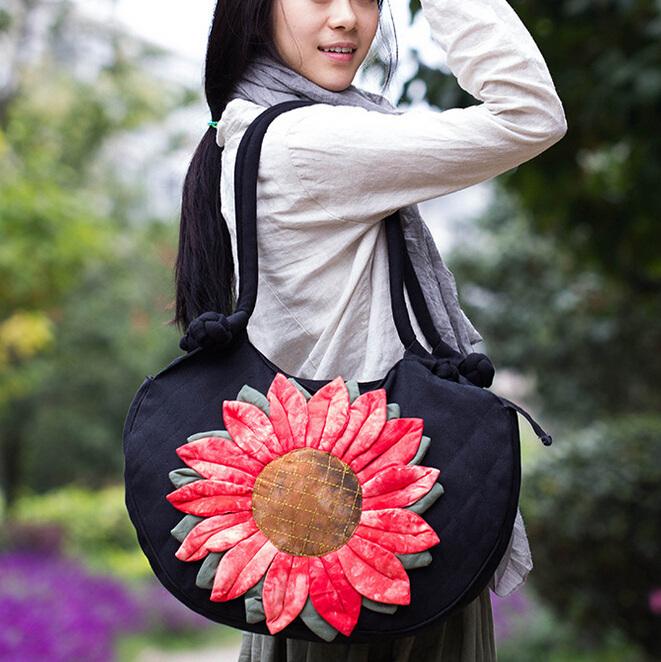 Europe Brand Women Cotton Sunflower Handbag Female Girl Vintage Shoulder Bag Clutch Sac Femme Bolsos Mujer gw0623<br><br>Aliexpress
