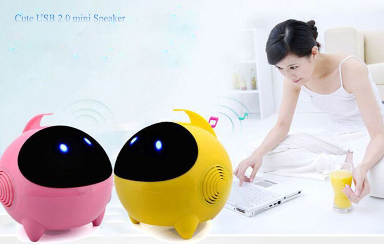 New line control USB 2.0 cute mini woofer speaker dive deep bass voice with light for PC Notebook Smartphone MP3 tablet(China (Mainland))