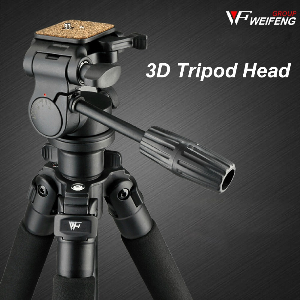 Multi-function Weifeng WF6663 Aluminum Tripod For Digital Camera With 3D Head Net weight 1.87kg 4 sections Free Ship By DHL(China (Mainland))