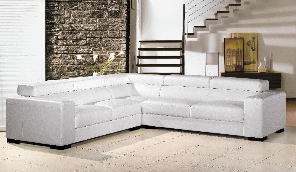 Cheap living room sofa ,living room furniture L shape leather sofa white sectional sofa #2280(China (Mainland))