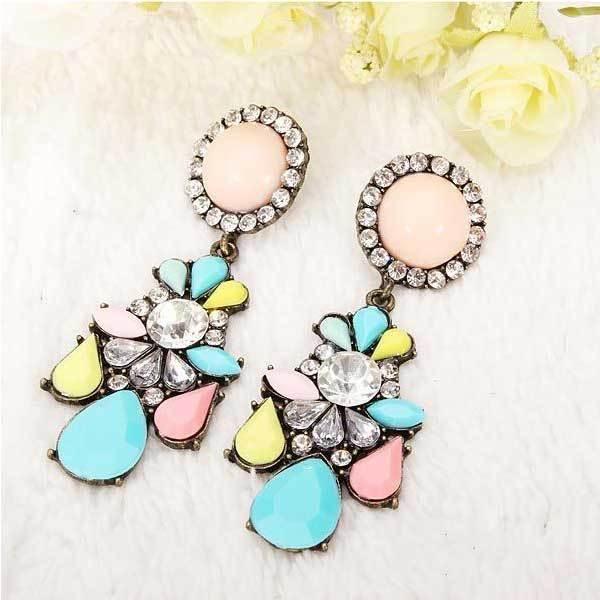 Aitkender Multicolor Crystal Flower Earrings Vintage Women Ear Stud(China (Mainland))