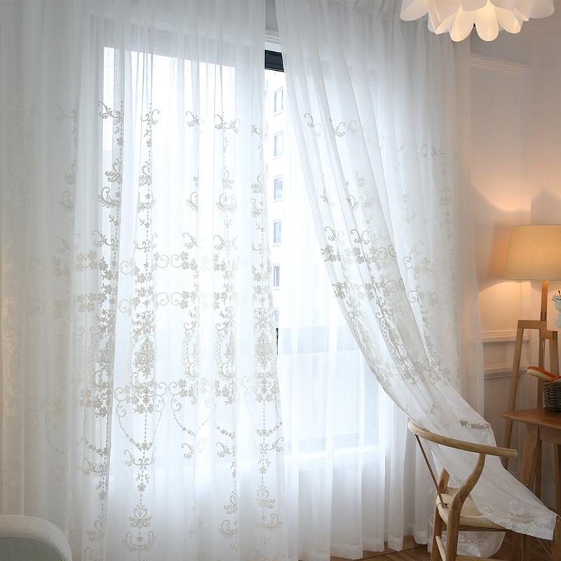 Promoci n de cortinas de gasa blanca compra cortinas de - Cortinas de gasa ...