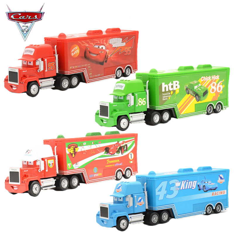 New Pixar Cars 2 Toys Diecast Alloy and Plastic Mack Truck Chick Hicks Toy Model Car for Children Container Green Truck(China (Mainland))