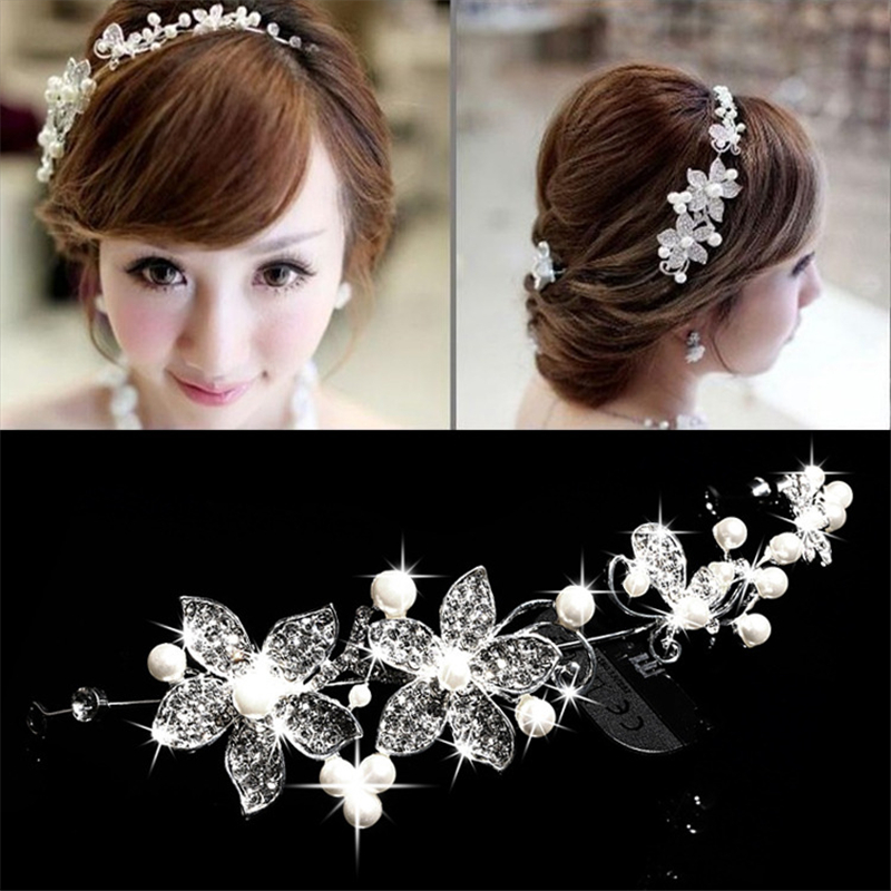 2016New Wedding Bride Pearl Flower Diamante Tiara Diadem Women Party Prom Formal Occasion Hair Accessories Jewelry Lady Headband(China (Mainland))