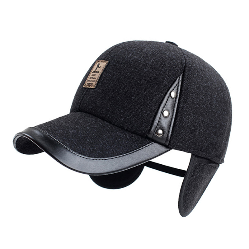Leather woolen thick male cap pu leather ear protection man cap faux leather quinquagenarian hat brand winter baseball caps warm(China (Mainland))