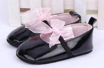 Черный детские Бантом Обувь Принцесса Baby Shoes Мягкой Подошвой SabyShoe Девушки