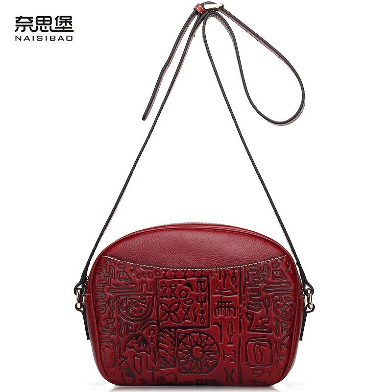 NAISIBAO Brand Handbag Cowhide Genuine Leather Bag Chinese style National Shoulder Messenger Bags Vintage Oracle Women Bag<br><br>Aliexpress