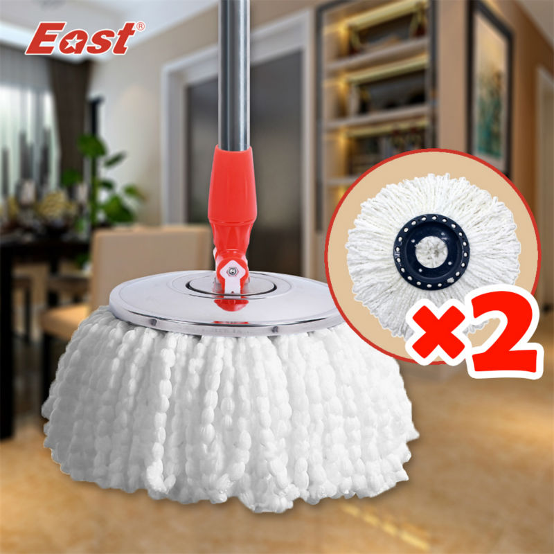 Life83 360 spin mop head High quality Magic Spin Mop Bucket No Foot Pedal Rotate 360 Degree with 2 heads cleaning mop head(China (Mainland))