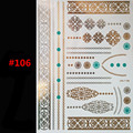 Latest design shimmering body art tattoo flash gold jewelry large temporary Arab tattoost sticker sleeve in