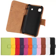 Buy Genuine Leather Wallet Stand Flip Card Style Stand Case Bags Cover Protector Skin Samsung Galaxy S i9000 S1 i9008 i9001 PZ for $3.75 in AliExpress store