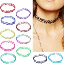 New Collares Vintage Stretch Tattoo Choker Necklace Punk Retro Gothic Elastic Pendants Necklaces for Women Lady Christmas Gift(China (Mainland))