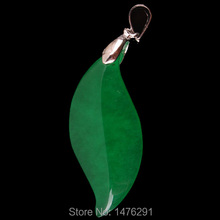 13X31MM Imperial Green Jade Leaf Bead Gems Pendant  Free Shipping(China (Mainland))