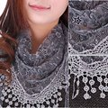 summer autumn Beach Hollow Tassel Lace Rose Floral Knit Mantilla Scarf Women Shawl Wrap scarves 2016