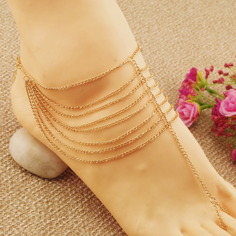 European New Women Multilayer Anklets Summer Accessories Chain Ankle Bracelets for Women 1PC AL054(China (Mainland))