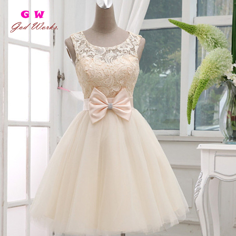Short Prom Dress Evening Dress special occasion dresses Short Design Bow Lace Up Prom Dresses Red Champagne Sleevesless(China (Mainland))
