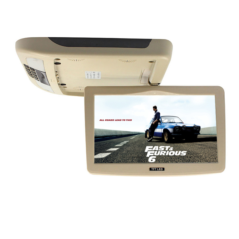 10 Inch Flip Down TFT LCD Monitor Car Roof Mounted Monitor Car Ceiling Monitor with Two Video Input Super Slim HD(China (Mainland))
