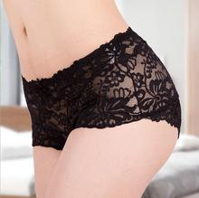 M-XXL Sexy Women High Quality  Lace floral Bamboo Fiber Boyshorts Boxer Briefs See Through Lingerie Underwear Panties Knickers