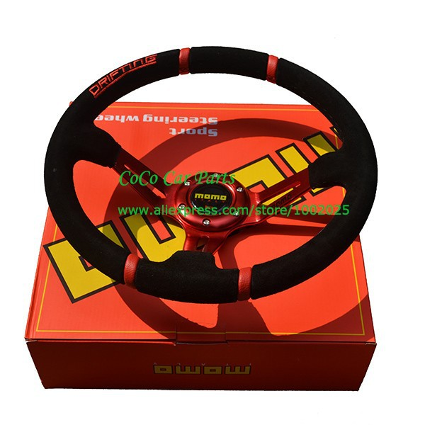 MOMO Racing Car Steering Wheel Red Color 350mm Drifting Steering Wheel Suede Sport Steering Wheel(China (Mainland))