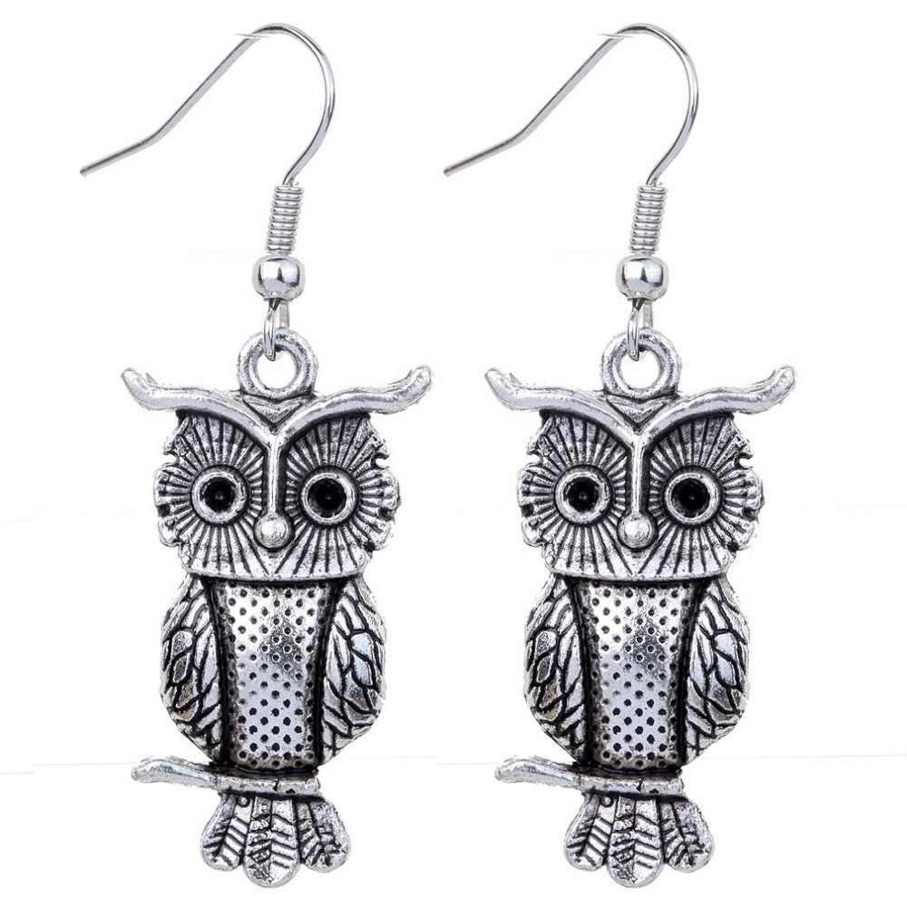 Free Shipping 2015 New Fashion Stylish Carved Owl Shape Pendant Women Tibetan Silver Hook Dangle Earrings Gift Jewelry(China (Mainland))