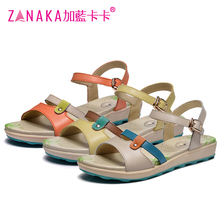 Blue kaka 2016 genuine leather flat sandals female flat heel sandals casual beach women's shoes free shipping