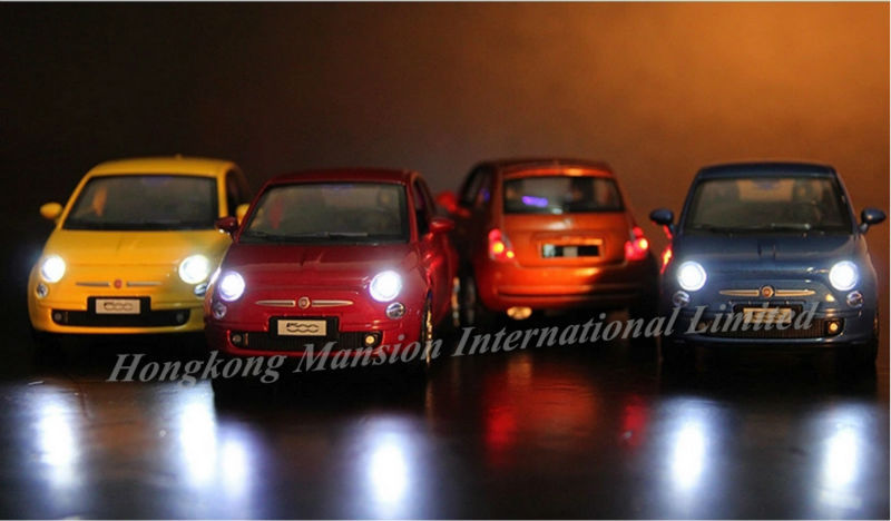 1:32 Scale Alloy Diecast Metal Licensed Car Model For Fiat 500 Collection Model Pull Back Car Sound&Light-Orange/Yellow/Red/Blue(China (Mainland))