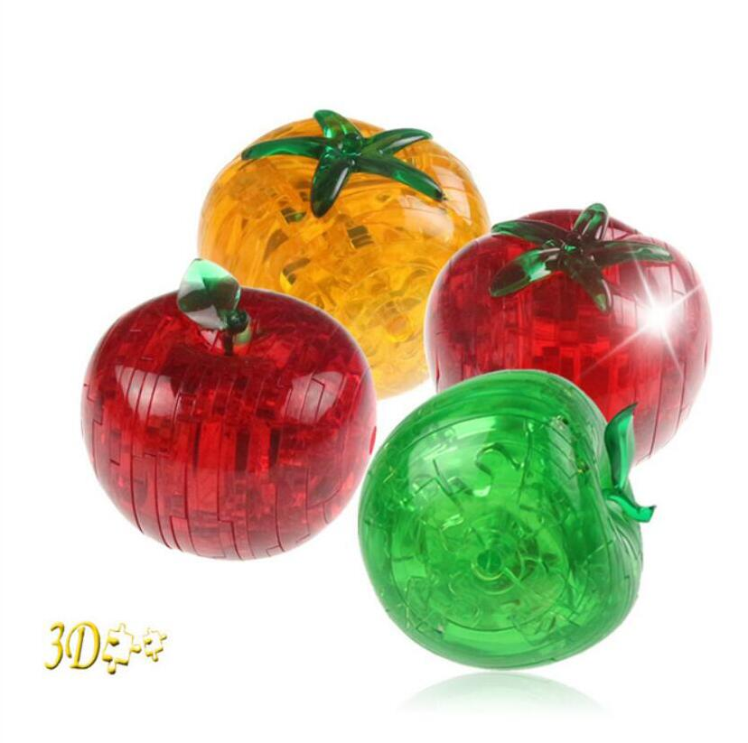 2016 Apple Crystal Puzzle 3D Tomatoes Jigsaw Toys DIY 3D Puzzles For Kids Or Adults Children's Educational Toys(China (Mainland))