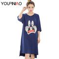 Women Nightgown Cartoon Cute Cotton Sleepwear Short Sleeve Night Dress Summer Sleepshirt Plus Size