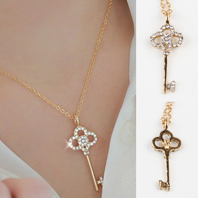 New Jewelry Fashion Hollow Key Retro Long Pendant Sweater Chain Necklace Drop Shipping NL-0307-GD(China (Mainland))