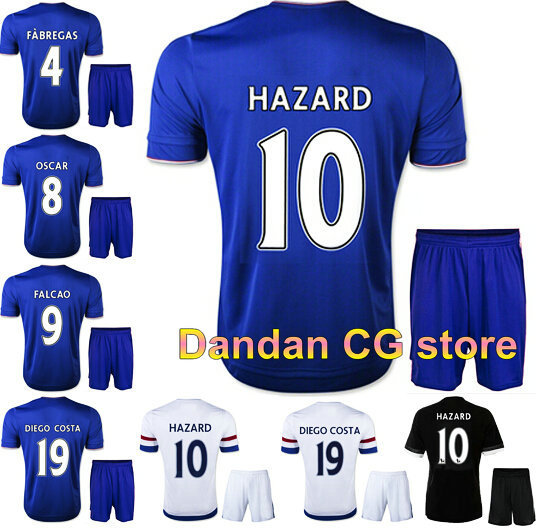 15/16 Chelsea kits home blue away soccer jersey kits, HAZARD FABREGAS DROGBA best quality football uniform Embroidery logo(China (Mainland))