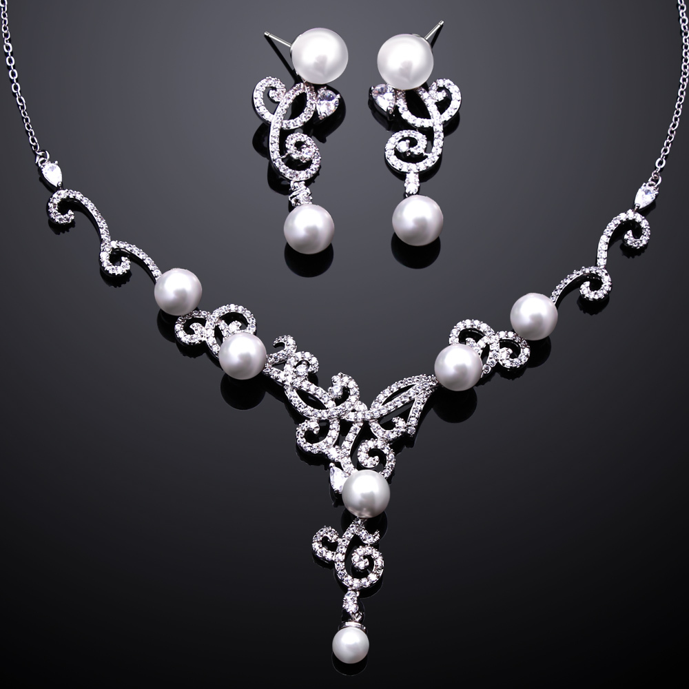 Cubic Zirconia Jewelry Sets : Latest tread aaa cubic zirconia pearl necklace earrings