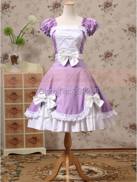 Purple and White Short Sleeves Bow Sweet Lolita DressОдежда и ак�е��уары<br><br><br>Aliexpress