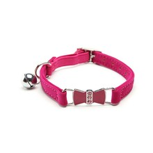 Free Shipping Flocking Cat Collar With Rhinestone Studded For Small Medium Cat 0.95*27.9Cm Rose Red(China (Mainland))