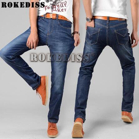 29-40 Big Size True Famous Brand Casual Straight Denim Jeans Men Pants Deep Blue Pantacourt Homme Marque Jeans men 2016 C027