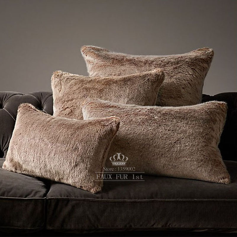 Throw Pillow Covers Set : LUXE FAUX FUR PILLOW COVERS LYNX wolf cushions home decor bedding set decorative pillows ...
