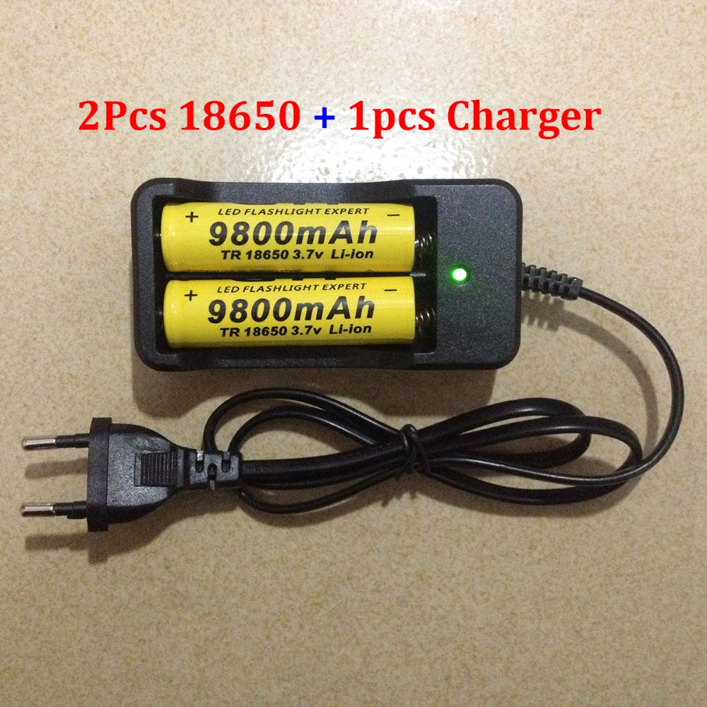 2pcs set 18650 battery 3 7V 9800mAh rechargeable liion battery with charger for Led flashlight batery