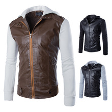 2016 knitted sleeve hooded men short paragraph Slim washed leather motorcycle(China (Mainland))
