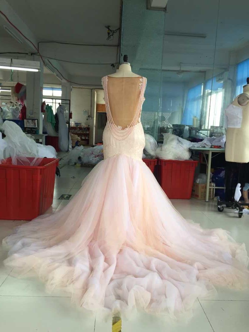Real photos blush colored mermaid wedding dress 2016 for Low cut mermaid wedding dress