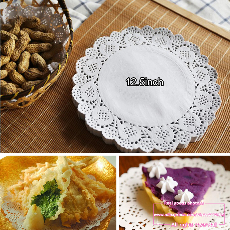 100pcs, 12.5inch (32cm) White Round Paper Lace Doilies Paper Cake Placemat Baking Decoration Creative Craft(China (Mainland))