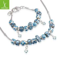 New Arrival European Style 925 Silver blue beads heart charm bracelet&necklace Fashion Jewelry sets wedding(China (Mainland))