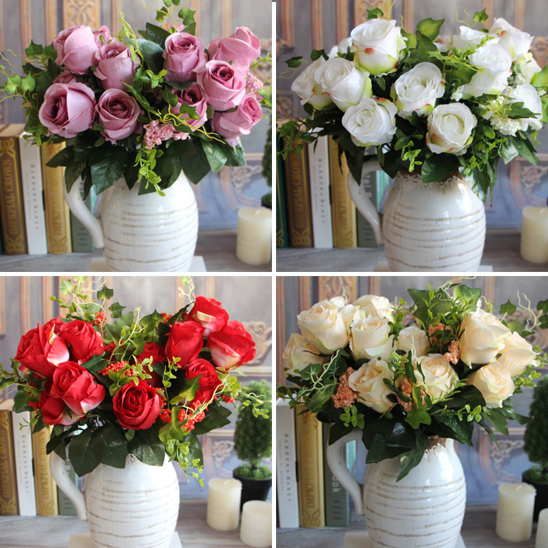 New Charming Beautiful Artificial Fake 9 Heads Spring Rose Flowers Floral Home Hotel Desk Party Decor