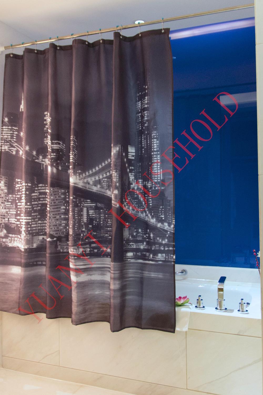 "Bathroom Polyester Printed Fabric Brooklyn Bridge night scene Style Shower Curtains Liner Waterproof Bath Curtains 72*72"" Hooks(China (Mainland))"